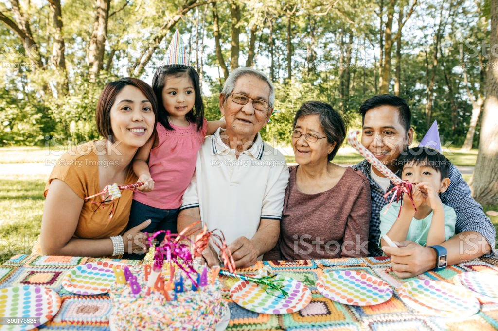 Celebrating birthday with family stock photo