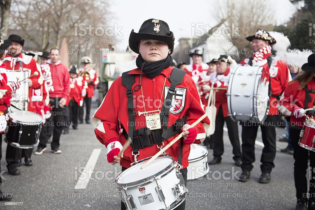 celebrating carnival marching band in parade stock photo