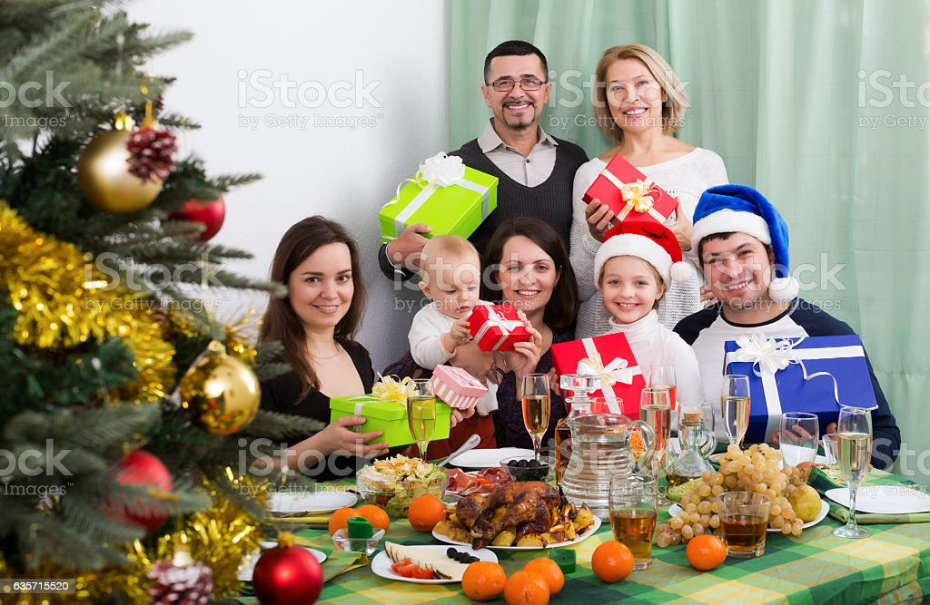Celebrating Christmas in big family royalty-free stock photo