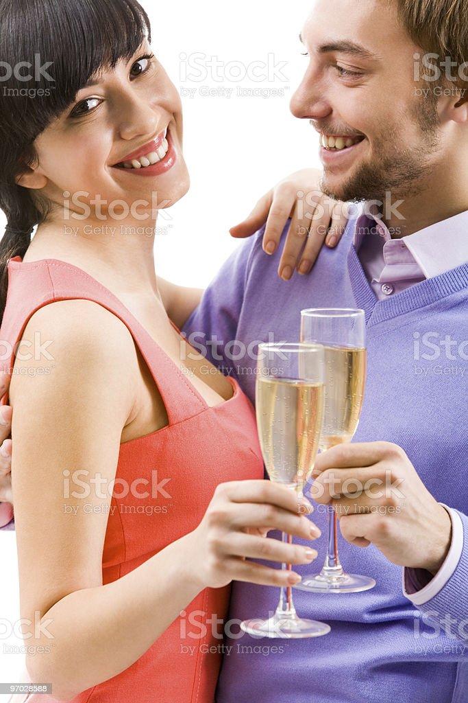 Celebrating couple royalty-free stock photo
