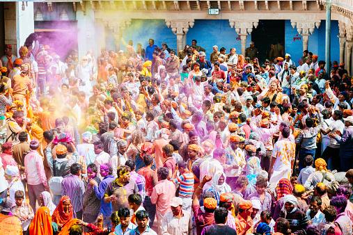 Celebrating Crowd Holi Festival India