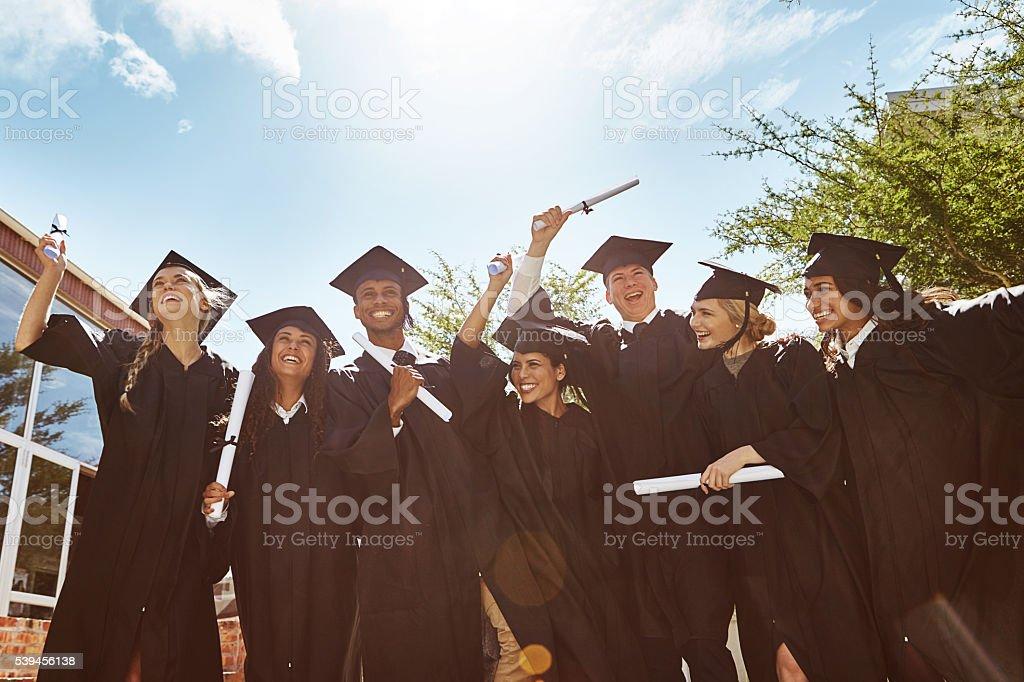 Celebrating graduation stock photo