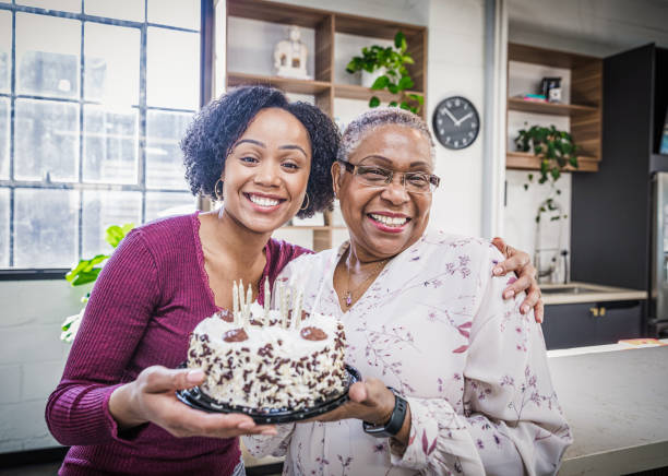 Celebrating Grandma's Birthday stock photo
