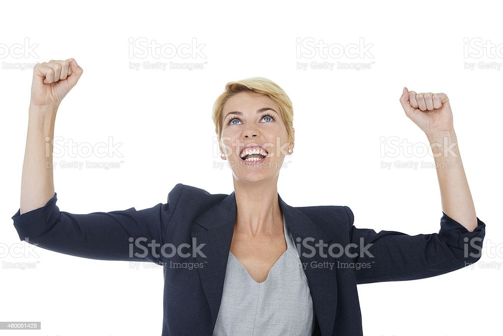Celebrating her business success royalty-free stock photo