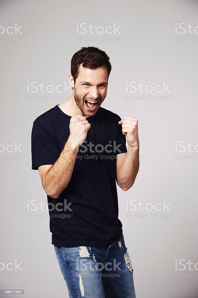 Celebrating his achievements stock photo