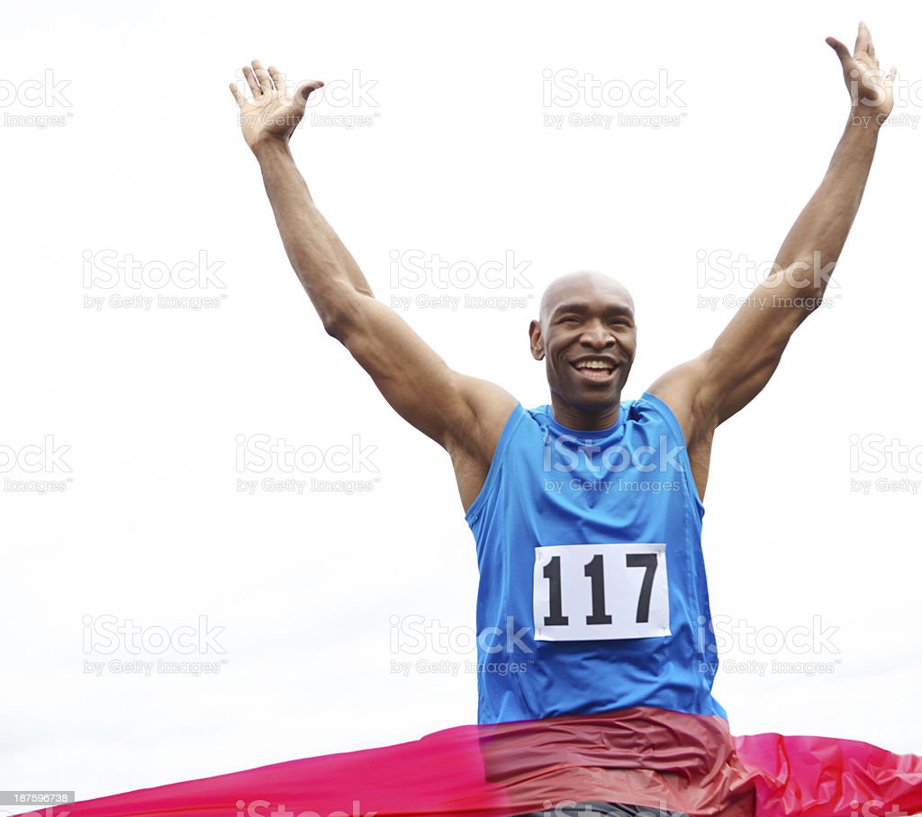 Celebrating his victory stock photo