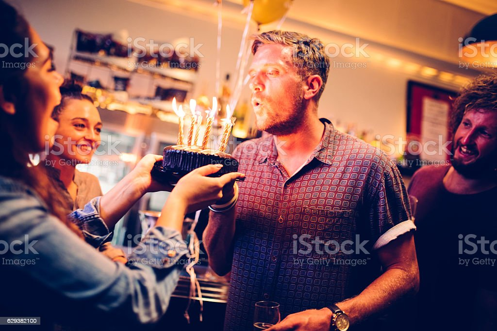 Celebrating in a pub stock photo