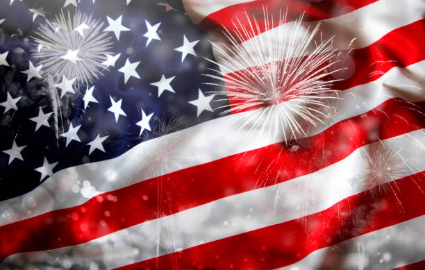 Celebrating Independence Day in US stock photo