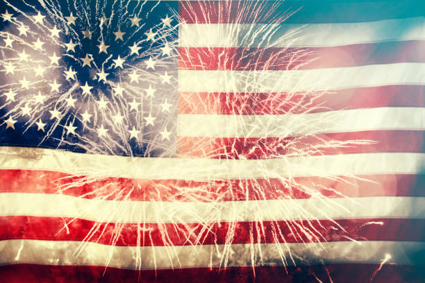 Celebrating Independence Day in US United States of America USA flag with fireworks background for 4th of July day 4 stock pictures, royalty-free photos & images