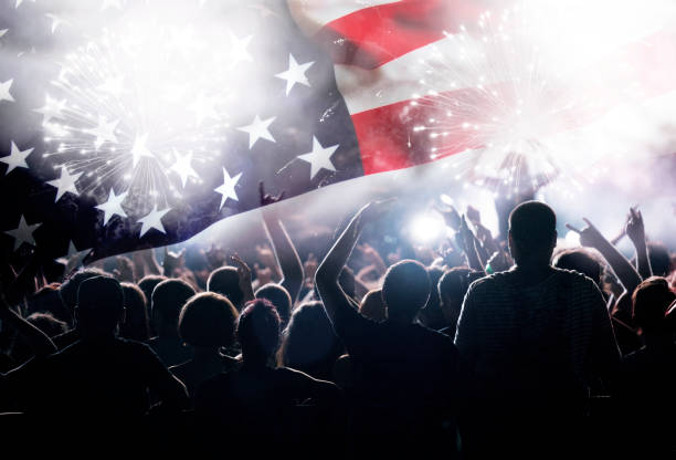 Celebrating Independence Day in US Crowd of people celebrating Independence Day. United States of America USA flag with fireworks background for 4th of July day 4 stock pictures, royalty-free photos & images