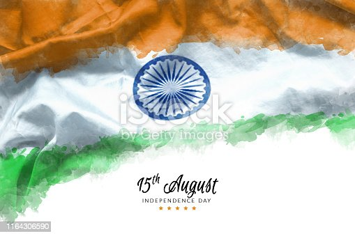istock celebrating India Independence Day greeting card with Indian waving flag grunge by water color paint background. abstract background, vintage Poster, banner or flyer design for 15th of August 1164306590