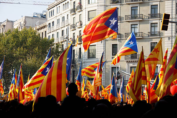 Celebrating National Day of Catalonia Many people which the official sources estimated at 1.5 million celebrate the national day of Catalonia (11th of September) with Catalan flags. catalonia stock pictures, royalty-free photos & images
