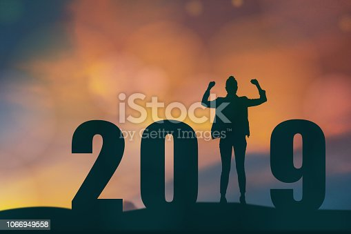 1042088340 istock photo celebrating new year 2019 Silhouette freedom young hope business man standing and enjoying on the the top of the building, city scape, landscape and 2019 years , copy space 1066949558