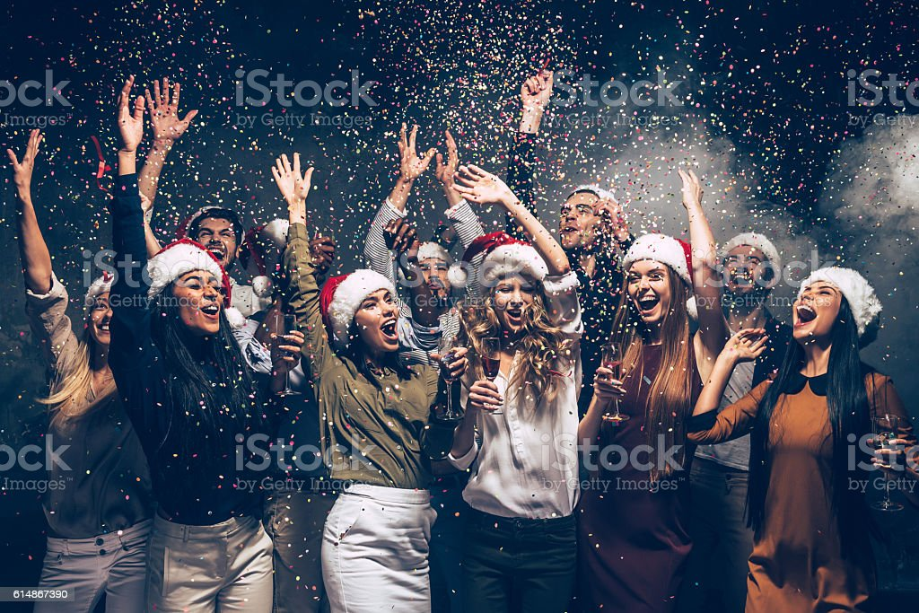 Celebrating New Year together. stock photo