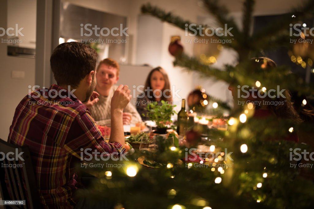 Celebrating New Year's eve with friends stock photo