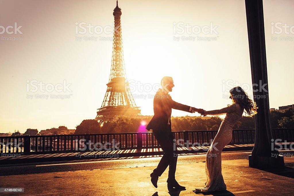 Celebrating our love in Paris stock photo