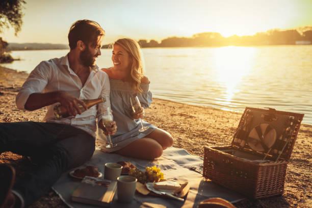 unsere beziehung zu feiern - romantisches picknick stock-fotos und bilder