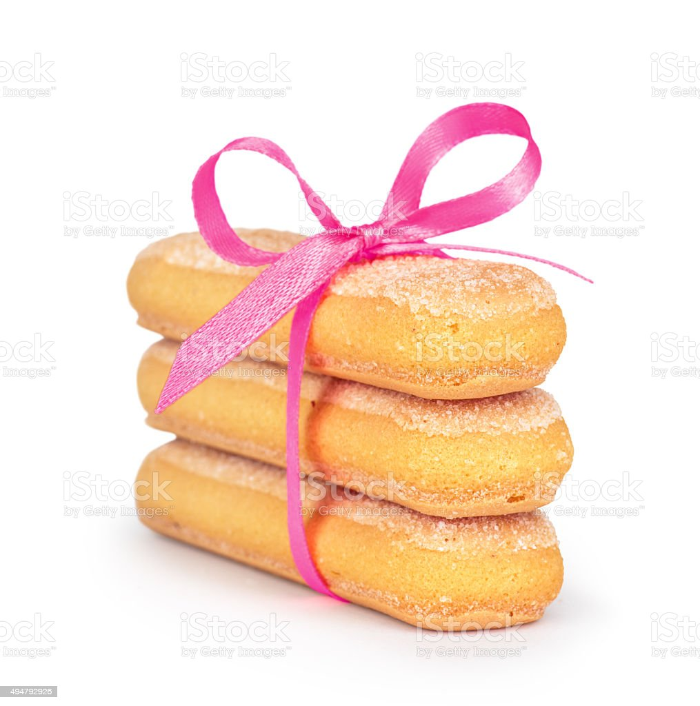 celebrating Savoyardy Cookies tied with pink ribbon stock photo