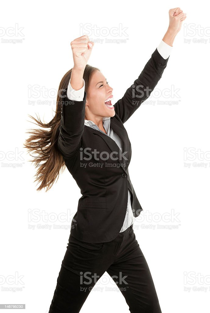 Celebrating success business woman isolated royalty-free stock photo