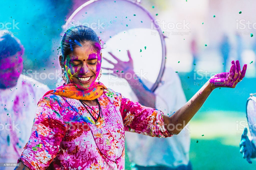Celebrating the Holi Festival of Colors stock photo