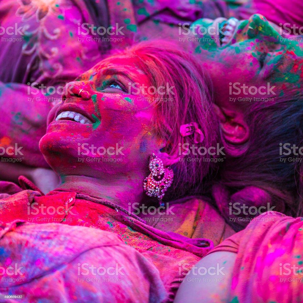 Celebrating the Holi Festival of Colors stock photo