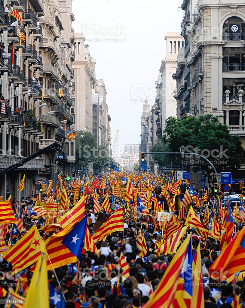 Celebrating the National Day of Catalonia stock photo