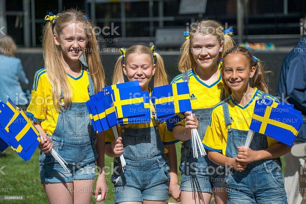 Celebrating the National day of Sweden stock photo