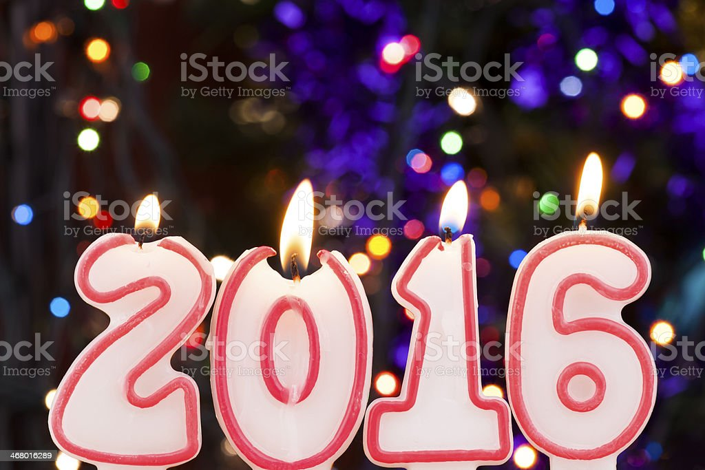 Celebrating the New Year (candle number 2016) royalty-free stock photo
