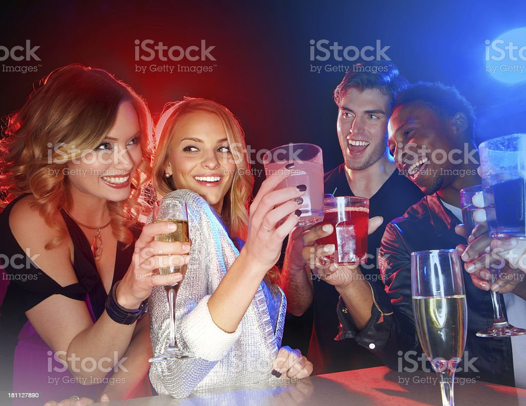Celebrating the start to a great weekend! stock photo