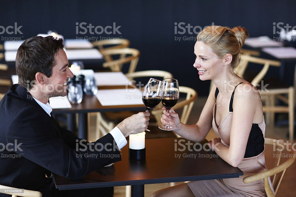 Celebrating their first year together royalty-free stock photo