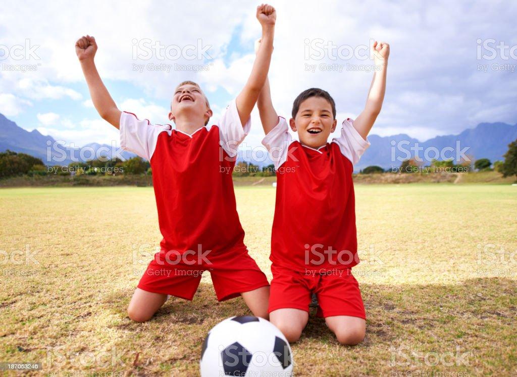 Celebrating their goal! royalty-free stock photo