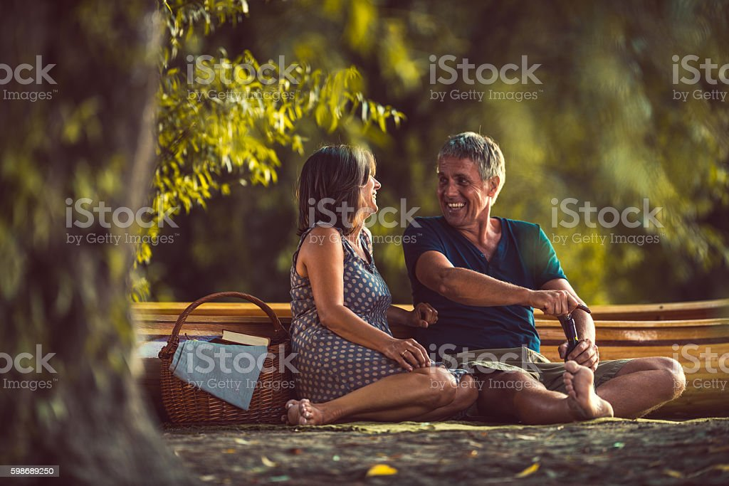 Celebrating their romance stock photo