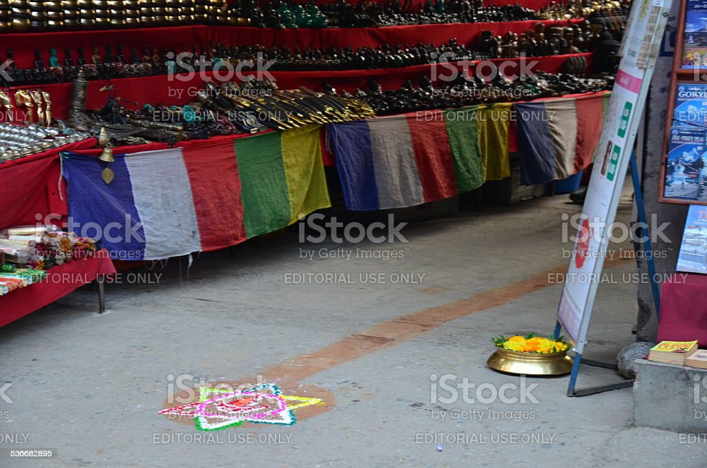Celebrating Tihar Deepawali festival stock photo