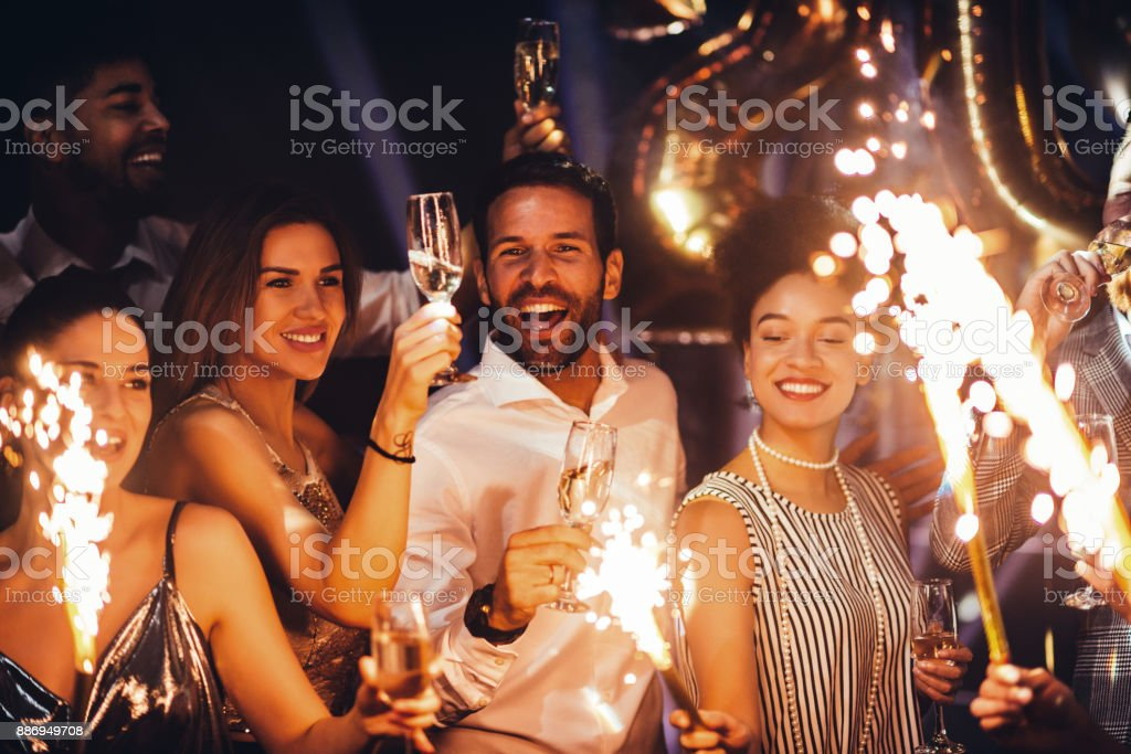 Celebrating with closest people stock photo