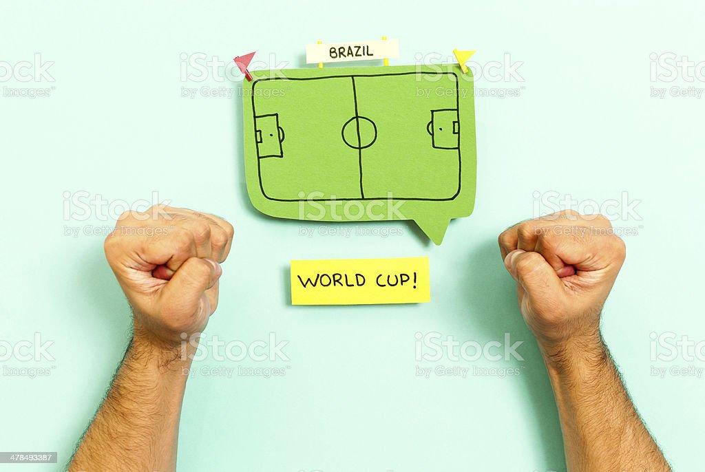 Celebrando a Copa do Mundo em Fundo azul - foto de acervo