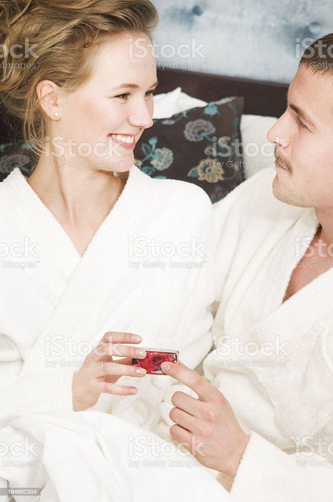 celebrating young couple stock photo