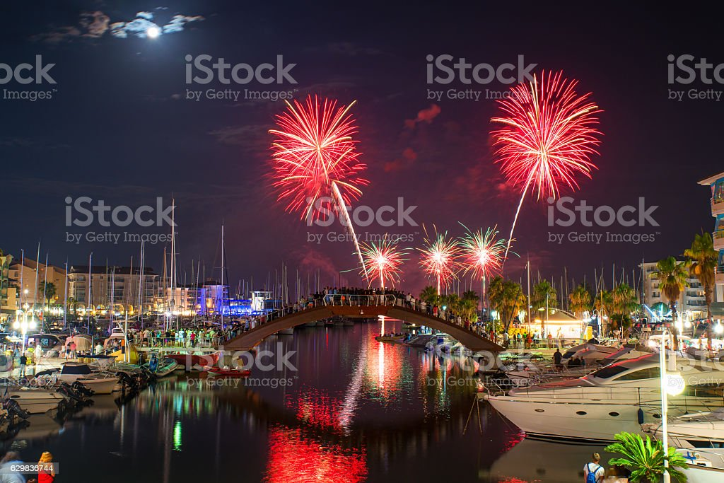 Celebration and firework in a marina. stock photo
