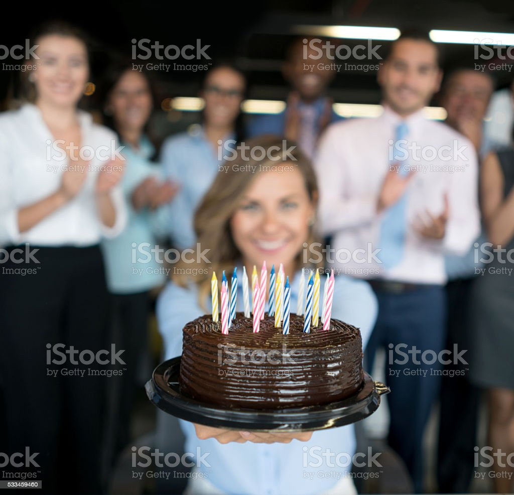 Celebration at the office stock photo