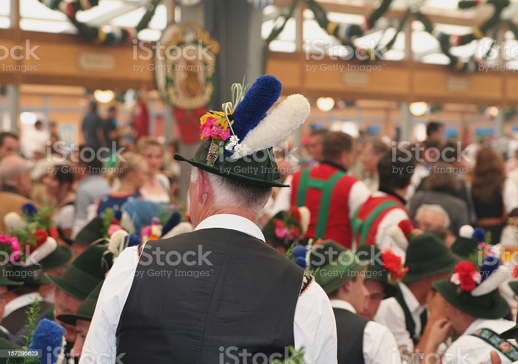 Celebration at the Oktoberfest inside a bavarian tent stock photo