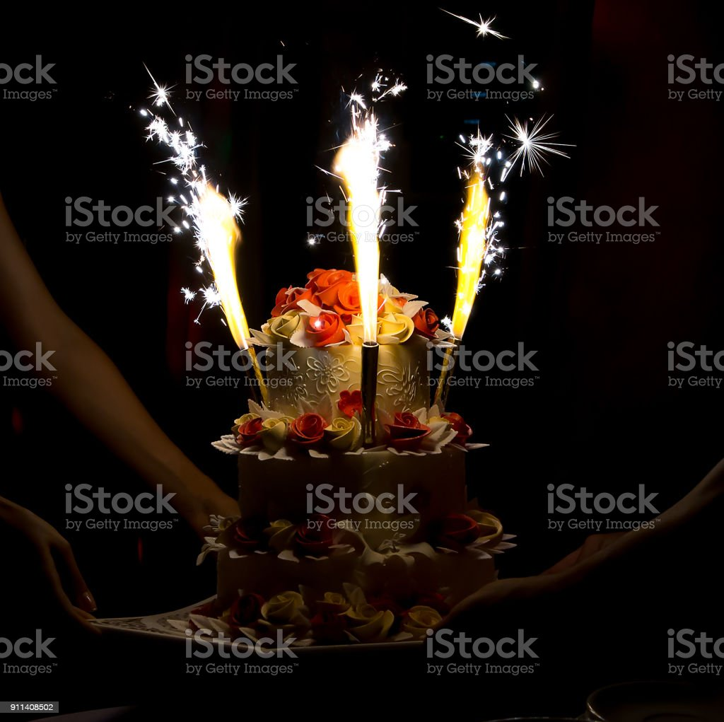 Celebration Cake With Candles And Cake Sparklers Stock Photo More