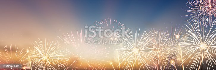 Celebration colorful firework on pattern on sky background concept for USA 4th july independence day, symbol of patriot freedom festive, Abstract happy new year 2021 with copy space for display