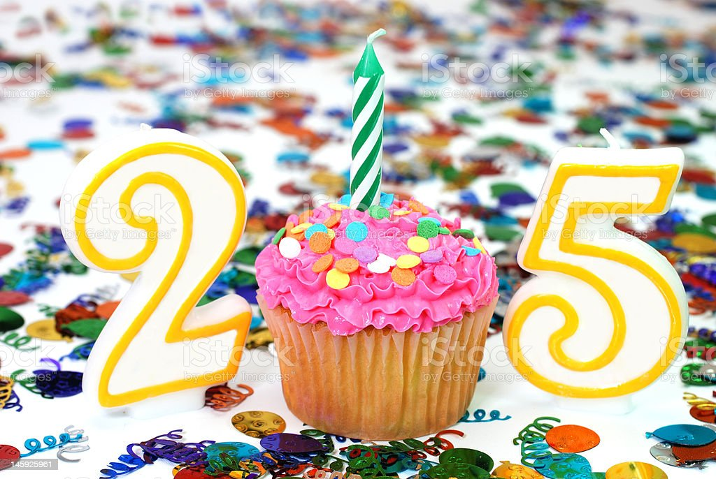 Celebration Cupcake with Candle - Number 25 stock photo