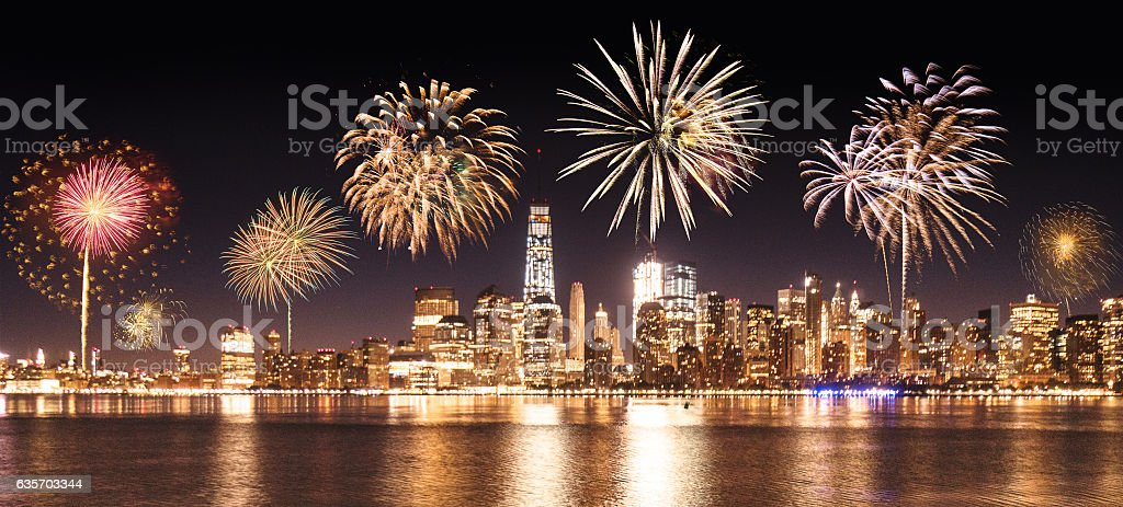celebration day in new york city with fireworks stock photo