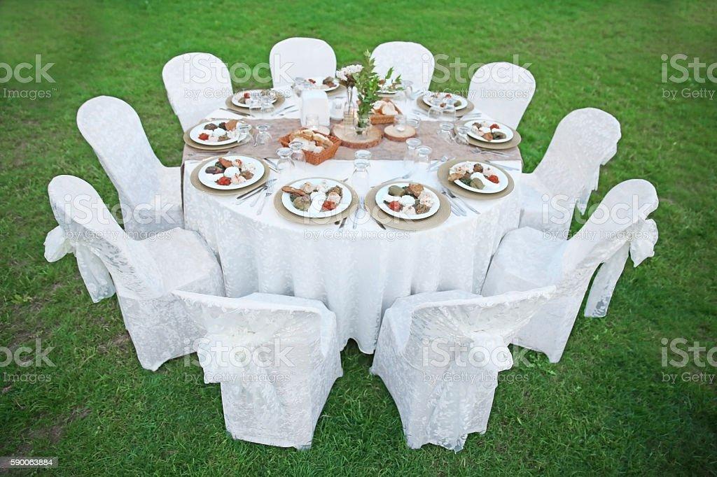 Celebration dinner table stock photo
