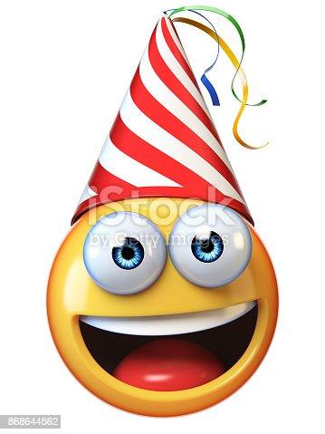 istock Celebration Emoji isolated on white background, emoticon with birthday cap 3d rendering 868644562