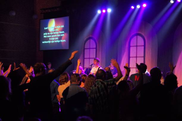 celebration event for young people. - praise and worship stock photos and pictures