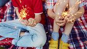 Children holding burning sparklers