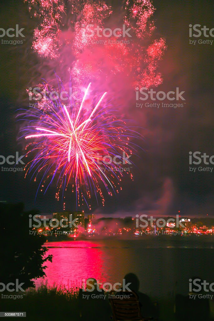 Celebration Fireworks, Barrie, Ontario, Canada stock photo