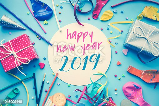 istock 2019 Celebration happy new year concepts ideas with colorful element,gift box present,confetti,balloon 1048005446