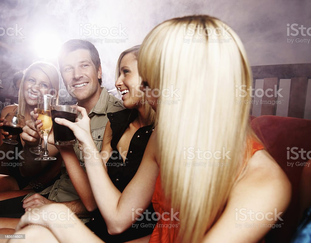 Celebration - Happy, young people toasting at a party royalty-free stock photo